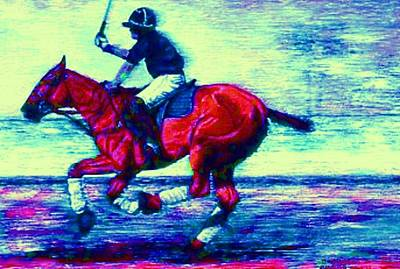 Horse Painting - Polo Down The Field Deep With Blue by Bets Klieger