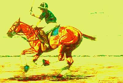 Horse Painting - Polo Down The Field Orange To Red by Bets Klieger