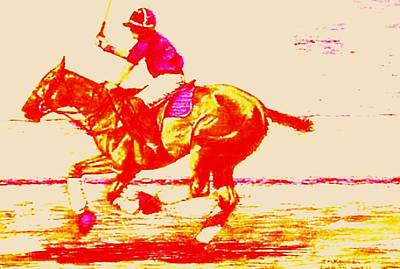 Horse Painting - Polo Down The Field Red by Bets Klieger