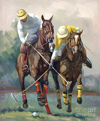 Wild Horse Painting - Polo by Laurie Hein