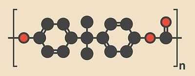 Polymer Photograph - Polycarbonate Plastic Polymer Molecule by Molekuul