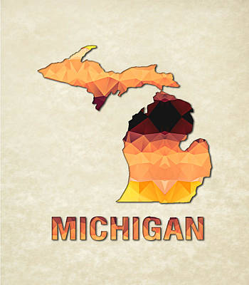 Michigan State Painting - Polygon Mosaic Parchment Map Michigan by Elaine Plesser