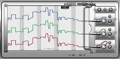 Los Angeles Skyline Digital Art - Polygraphs - Citypulse - Los Angeles Skyline  by Serge Averbukh