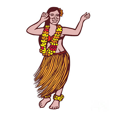 Polynesian Dancer Grass Skirt Linocut Print by Aloysius Patrimonio