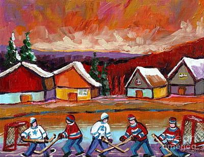 Hockey Rink Painting - Pond Hockey Game 2 by Carole Spandau