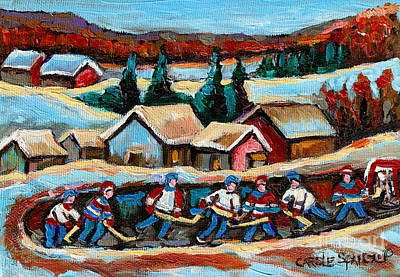 Montreal Winter Scenes Painting - Pond Hockey Game In The Country by Carole Spandau