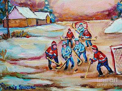 Montreal Painting - Pond Hockey In The Country On Frozen Pond Canadain Winter Landscapes Carole Spandau by Carole Spandau