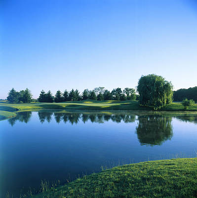 Reflection Harvest Photograph - Pond In A Golf Course, Rich Harvest by Panoramic Images
