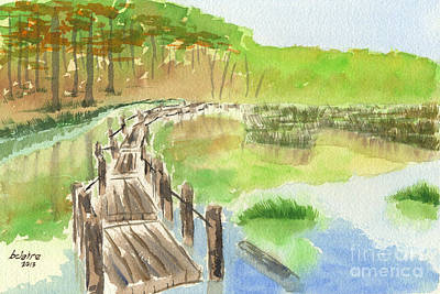 Rickety Bridge Painting - Pond With Rickety Wooden Bridge by Beverly Claire Kaiya