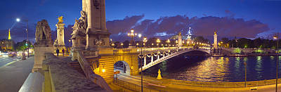 Pont Alexandre IIi Bridge At Dusk Print by Panoramic Images