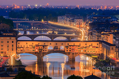 Ponte Vecchio After Sunset Print by Henk Meijer Photography