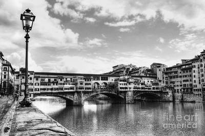 White River Scene Photograph - Ponte Vecchio At Florence Italy Bw by Mel Steinhauer