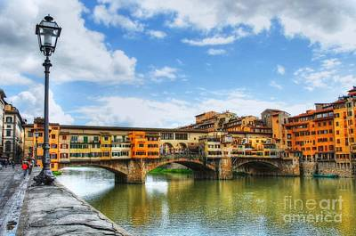 Ponte Vecchio At Florence Italy Print by Mel Steinhauer