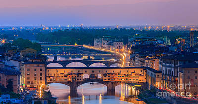 Ponte Vecchio At Sunset Print by Henk Meijer Photography