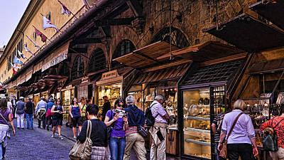 Ponte Vecchio Merchants - Florence Print by Jon Berghoff