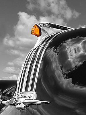 1948 Pontiac Chief Photograph - Pontiac Hood Ornament Black And White With Highlight by Gill Billington