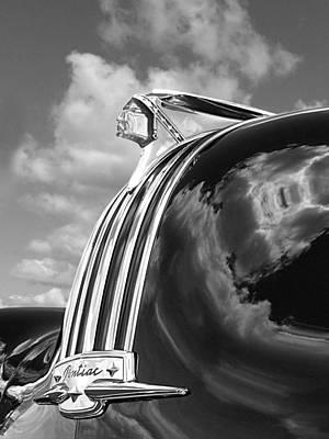 1948 Pontiac Chief Photograph - Pontiac Indian Hood Ornament Black And White by Gill Billington