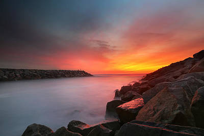 Carlsbad Photograph - Ponto Jetty Sunset 5 by Larry Marshall