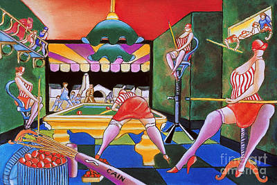Cain Painting - Pool Hall Ladies  by William Cain