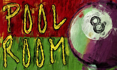 Pool Room Sign Abstract Print by David G Paul