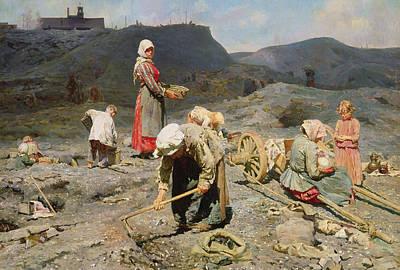Poor People Gathering Coal At An Exhausted Mine Print by Nikolaj Alekseevich Kasatkin