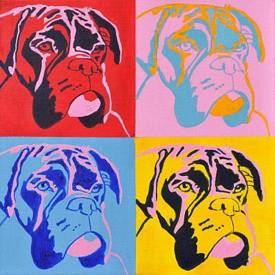 Pop Art Boxer Dog Original by Louise Charles-Saarikoski