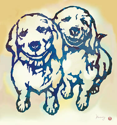 Abstract Of Dogs Drawing - Pop Art Etching Poster - Dog - 10 by Kim Wang