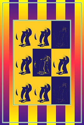 Pop Art Penguin Bends Down Print by Toppart Sweden