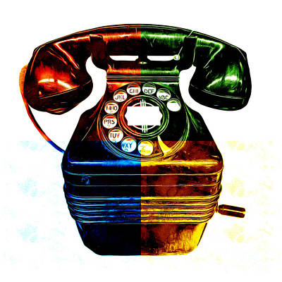 Graphic Digital Art Painting - Pop Art Vintage Telephone 4 by Edward Fielding