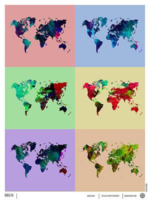 World Map Poster Digital Art - Pop Art World Map by Naxart Studio