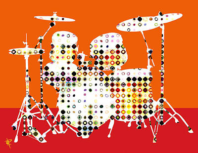Bass Drum Mixed Media - Pop Drums by Russell Pierce