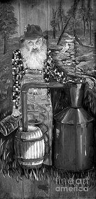 Sutton Painting - Popcorn Sutton - Black And White - Legendary by Jan Dappen