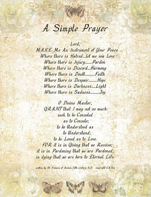 Pope Francis St. Francis Simple Prayer Butterflies Print by Desiderata Gallery