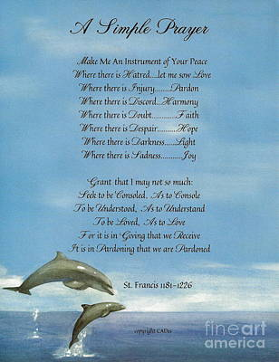 Pope Francis St. Francis Simple Prayer Dance Of The Dolphins Print by Desiderata Gallery