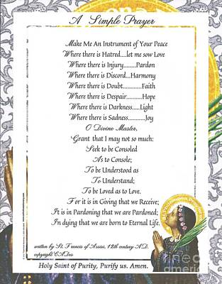 Pope Francis St. Francis Simple Prayer Purity Print by Desiderata Gallery