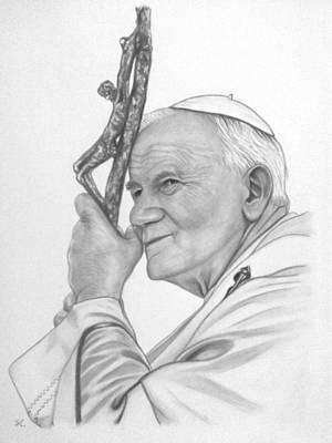 Pope John Paul II Print by Silvia Louro