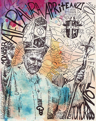 Religious Mixed Media - pope John paul by Michael  Volpicelli