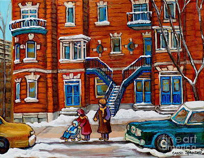 Baby Carriage Painting - Poplinger Building Montreal Winter Scene by Carole Spandau
