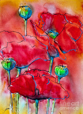 Early Spring Mixed Media - Poppies 2 by Jani Freimann