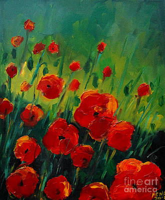 Poppies 4 Original by Mona Edulesco