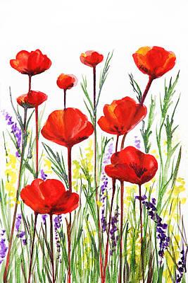Poppies And Lavender  Print by Irina Sztukowski
