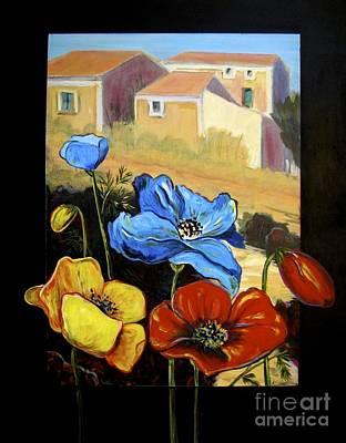 Italian Wine Painting - Poppies Citiscape by Italian Art
