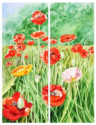 Poppies Collage I Print by Irina Sztukowski