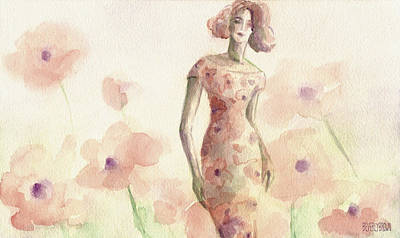 Wall Art Painting - Poppies Fashion Illustration Watercolor Painting by Beverly Brown Prints