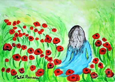 Poppies Field Painting - Poppies Field Illusion by Ramona Matei