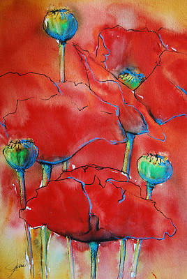 Early Spring Mixed Media - Poppies II by Jani Freimann