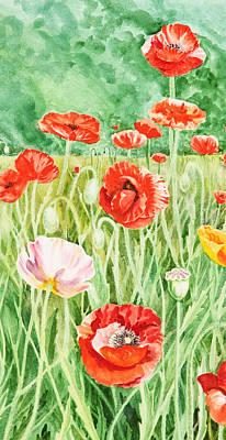 Poppies Impressions I Print by Irina Sztukowski