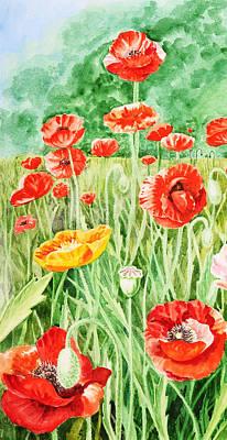 Poppies Impressions II Print by Irina Sztukowski