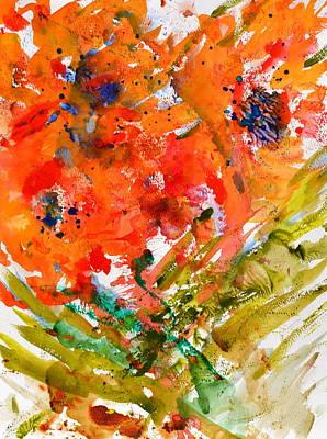 Poppies In A Hurricane Print by Beverley Harper Tinsley