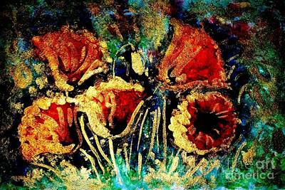 Poppies In Gold Print by Zaira Dzhaubaeva